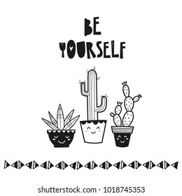 Cute cacti in the flowerpots, poster for baby room, greeting card, print on the wall, pillow, decoration kids interior, baby wear and t-shirts