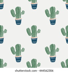 Cute cacti, flowerpots,cactus/hand drawn vector seamless pattern/can be used for kid's or baby's shirt design/fashion print design/fashion graphic/t-shirt/kids wear