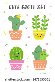 Cute cacti set. Happy bright cactuses with smile faces. Perfect for stickers or cards. Vector illustration.