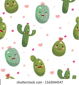 Cute cacti in the style of kawaii with pink cheeks. Emotions. Very cute baby pattern for fabric, cards, Wallpaper, design. Summer design. Applique, embroidery. Vector illustration.