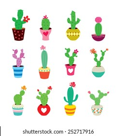 cute cactus collection vector illustration