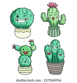 Cute cactus expression or kawaii face by using colored doodle style