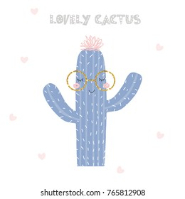 Cute cactus with fashion slogan. Vector hand drawn illustration.