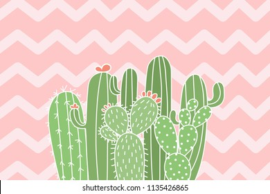Cute cactus illustration background. Mix cactus on zigzag pastel background.