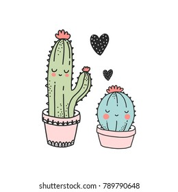 Cute cactus illustration. Pefect for valentine's day