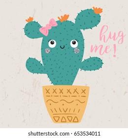 cute cactus illustration with slogan, vectors