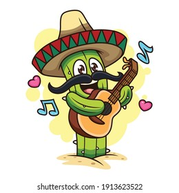 Cute Cactus Playing Guitar. Cartoon Vector Icon Illustration. Plant Icon Concept Isolated on White Background