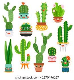 Cute cactus pots. Happy face cartoon succulent cacti funny flower smile plant lovely friends, desert garden trendy cactuses