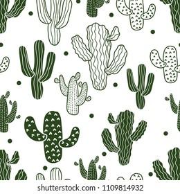 Cute cactus. Seamless pattern.