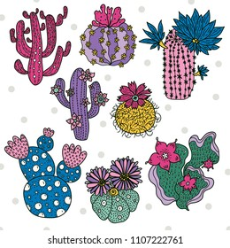 Cute cactus set