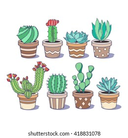 Cute cactus and succulent set; eight doodle colorful flowers in pots isolated on white background; hand drawn illustration in sketch style;