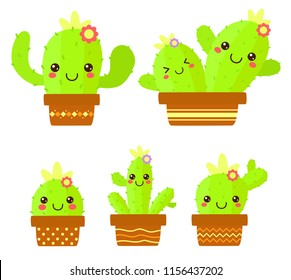 Cute cactus vector illustration set