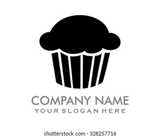 cute cake bread cup cake black muffins logo image icon