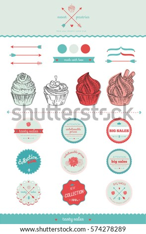 Cute Cakes And Cupcakes Icons Label Stickers Set For Restaurant Cafe Bakery