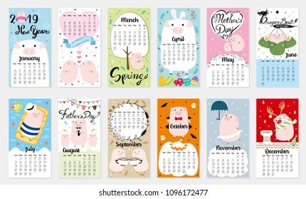 Cute Calendar for 2019