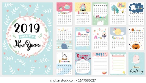 Cute Calendar for 2019. vector illustration