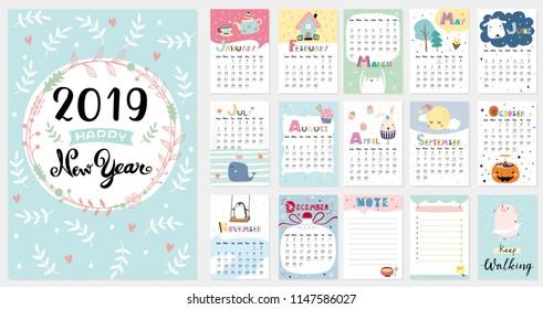 2019 Calendar Images Stock Photos Vectors Shutterstock