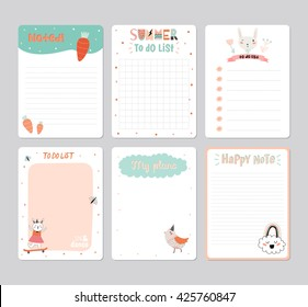 cute daily planner template note paper stock vector royalty free