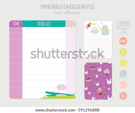 Cute Calendar Daily Planner Template Beautiful Diary With Funny Kids Illustrations Spring Holidays Background