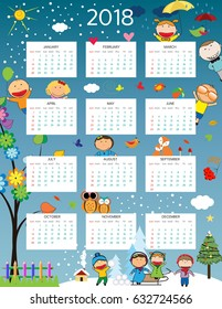 Cute calendar for the New Year 2018