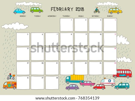 cute calendar planner february 2018 beige stock vector royalty free