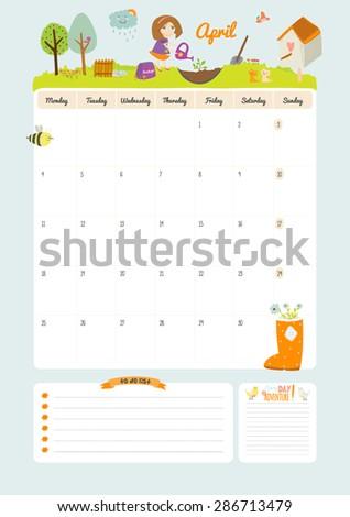 Cute Calendar Template 2016 Beautiful Diary Stock Vector Royalty