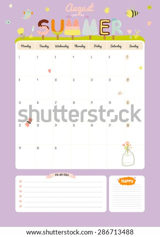 cute calendar template for 2016 beautiful diary with vector character and funny illustrations animals and