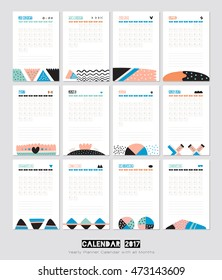 Cute Calendar Template for 2017. Yearly Planner Calendar with all Months. Good Organizer and Schedule with place for Notes. Vector. White background