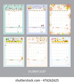 Cute Calendar Template for 2017. Yearly Planner Calendar with all Months. Good Organizer and Schedule with place for Notes. Vector. Winter, Spring, Summer, Autumn background