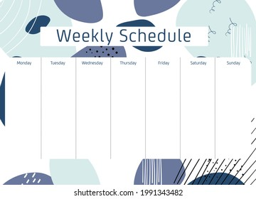 Cute Calendar Weekly Planner Template with Abstract Background Illustration. Organizer and Schedule.