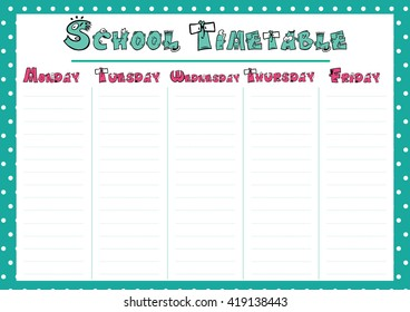 cute calendar weekly planner template school timetable illustration organizer and schedule