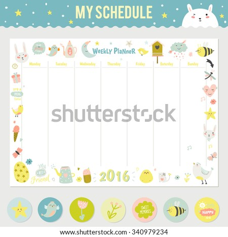 cute calendar weekly planner template for 2016 beautiful diary with vector character and funny kids
