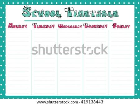 Calendar Weekly Template | Cute Calendar Weekly Planner Template School Stock Vector Royalty