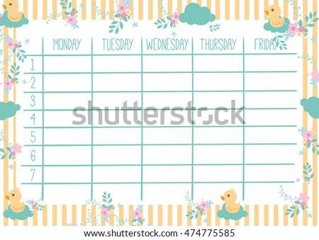Cute Calendar Weekly Planner Template Organizer Stock Vector