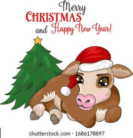 Cute calf with christmas tree. Vector illustration, hand-drawn image