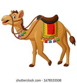 Cute camel cartoon with saddlery. Vector illustration