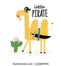 Cute camel eats a cactus. Camel pirate traveling through the desert with cacti. Childish print for nursery, kids apparel, postcard, poster. Vector Illustration.