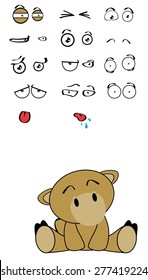 cute camel expressions cartoon set in vector format