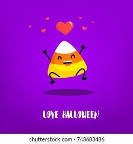 Cute candy corn jumps with hearts on violet background. Flat style. Halloween card with emotion of love. Vector.