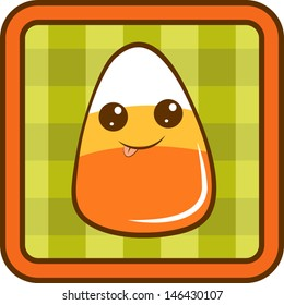 Cute candy corn on a green checkered background with orange border. EPS 10