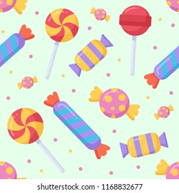 Cute candy and lolipop seamless pattern on a light background. Vector illustration.