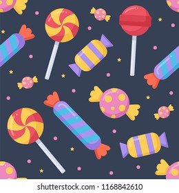 Cute candy and lolipop seamless pattern on a dark background. Vector illustration.