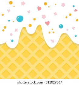 Cute candy texture. Milky ice cream cone with vanilla flavor ice cram and colorful sprinkles on top.  Big copy space.