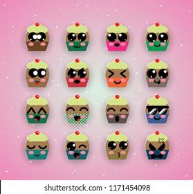 cute capcake kawaii emotion,emoji,halloween