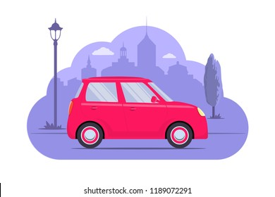 Cute car on city silhouette background. Pink car on purple monochrome background. Car concept illustration for app or website. Modern transport. Flat style vector illustration