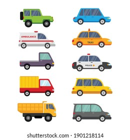 Cute car vehicle cartoon collections for pre school education and children vector illustration