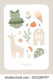 Cute card with alpaca, dress, house, leaf, flower, orange, peach. Invitation for baby shower, nursery poster, b-day invitation. Summer elements in flat doodle  vector style. Animal, nature, food