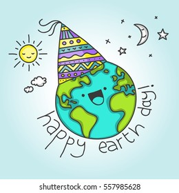 Cute card for April 22 with cartoon Earth saying Happy Earth Day