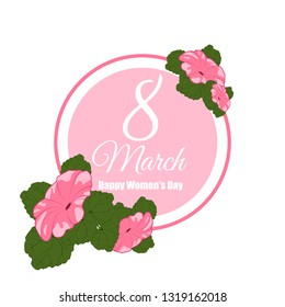 cute card, banner, poster for the holiday of women's day on March 8, vector illustration. Happy Mother's Day. Circle frame with flowers. Background. Wallpaper. EPS10 vector.