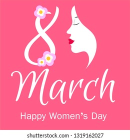 cute card, banner, poster for the holiday of women's day on March 8, vector illustration, with the silhouette of a woman's face. Happy Mother's Day. Circle frame with flowers. Background. Wallpaper.